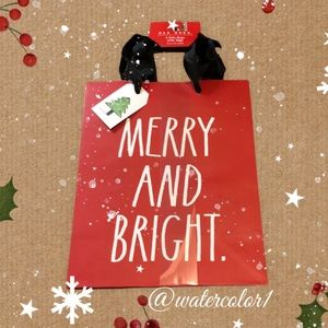 🆕 Rae Dunn MERRY and BRIGHT Gift Bags with Tags 3 Pack